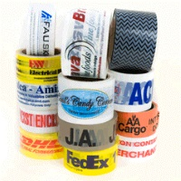"Custom Printed Tape - 2"" x 1000 yd Black 2.2 mil PVC Carton Sealing Tape, 6 rolls/case, 1 color"