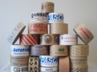 "Custom Printed Paper Tapes - Kraft Reinforced Printed Tapes 3"" x 450 ft., 10 rolls per case 1 color"